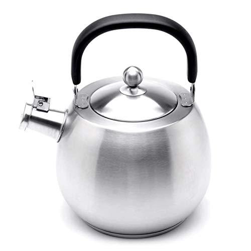 ASDFDG Estufa Top Tetera Tetera de Silbato de Plata de Acero Inoxidable de Grado alimenticio Tetera de Silbato con Mango ergonómico Adecuado para cocinar de inducción