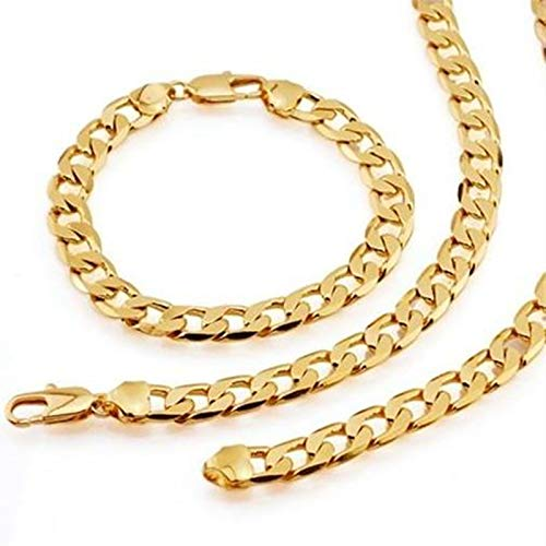 Juego de joyas para collar y pulsera de cadena para hombres y mujeres, chapado en oro amarillo de 18 quilates