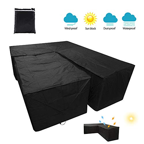L Shape Garden Furniture Covers Dining Set Cover Waterproof Dustproof Heavy Duty Patio Corner Sofa Protector with Storage Bag for Moving or Sunscreen (215x215x87cm+155x95x68cm-Black)