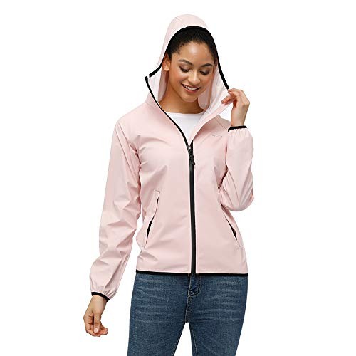 Tretorn Damen wasserdichte Regenjacke mit Kapuze Active Outdoor Regenmantel Windbreaker - Pink - X-Klein