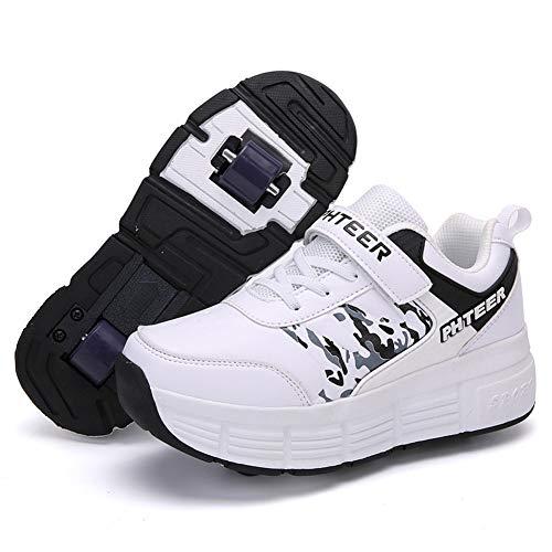 QMMD Enfants Chaussures à roulettes Outdoor Sports Chaussuresavec roulettes Respirant Chaussures roulettes Garçon Filles Creative Gifts Chaussures avec Roue,Blanc,1.5 UK/34 EU