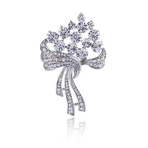 YXYSHX Moda romántica Diamantes de imitación Exquisito Ramo de Novia Broche Elegante...