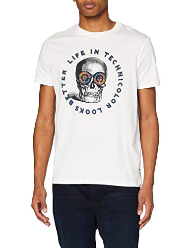Springfield Camiseta Calavera T-Shirt, Marfil, XS Mens
