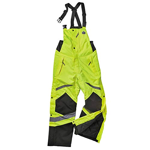 Insulated Thermal Bib Overalls, High Visibility, Weather-Resistant, XL, Ergodyne GloWear 8928,Lime