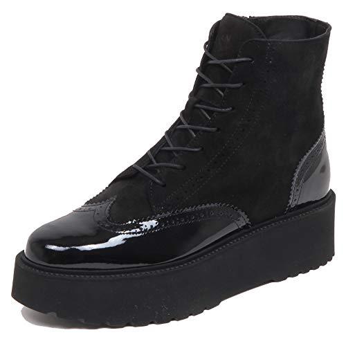 Hogan F6382 Anfibio Donna Black H355 Scarpe patent/Suede Boot Shoe Woman [36]