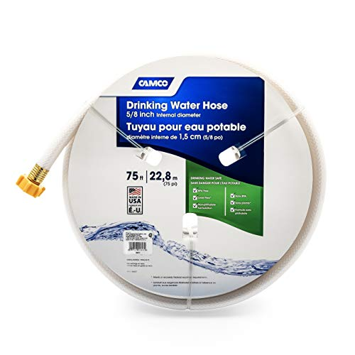Camco TastePURE 75ft Drinking Water Hose - Lead and BPA Free - Reinforced for Maximum Kink Resistance - Features a 5/8' Inner...