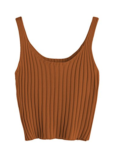 SweatyRocks Women's Ribbed Knit Crop Tank Top Spaghetti Strap Camisole Vest Tops Brown S