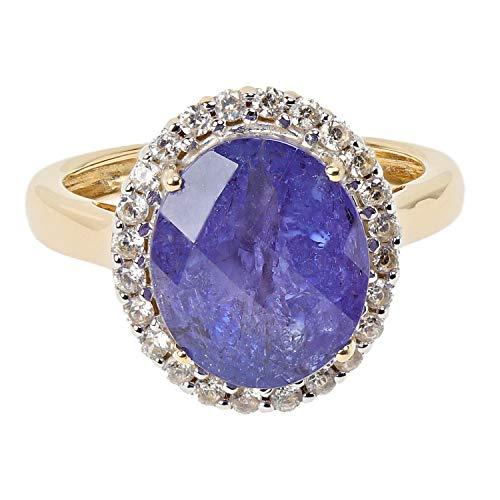 Harry Ivens DeLuxe Damen Ring aus echtem 585 Gold mit Tansanit AAA und Zirkon RW19