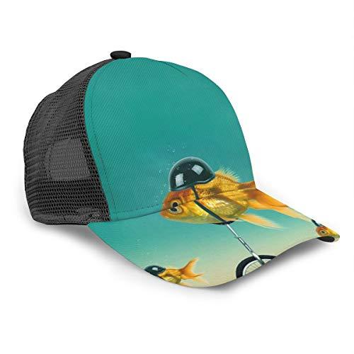 Gorra de béisbol Unisex con Casco, diseño de pez Dorado con Casco...