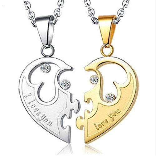LBBYMX Co.,ltd Collar 2 Piezas/Juego Collar con Colgante de Pareja de Acero de Titanio Mujeres y Hombres Te Amo Medio Corazón Rompecabezas Gargantilla Collar Moda
