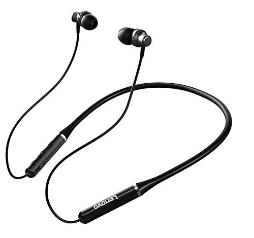 Lenovo HE05 PRO Wireless Bluetooth 5.0, Up to 9 Hours Playtime, in-Ear Neckband Earphones with Mic-Black