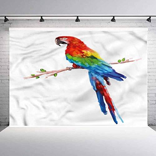 5x5FT Vinyl Photo Backdrops,Bird,Parrot Tropical Summertime Background for Graduation Prom Dance Decor Photo Booth Studio Prop Banner