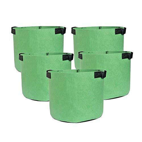 HONGVILLE 5-Pack Grow Bags/Aeration Fabric Pots w/Handles (10-Gallons, All Green)