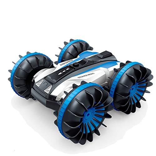 HLSP Amphibious RC Cars, 360 ° Spin Control Remoto Stunt Car, 2 Lados Impermeable Conducción en Agua y Tierra, Juguetes eléctricos Anfibios para niños