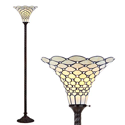 JONATHAN Y JYL8007A White Style 70u0022 Torchiere LED Floor Lamp, Tiffany, Traditional for Bedroom, Living Room, Bronze