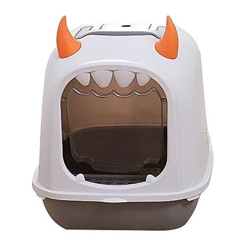 MAID Modische und nützliche große Katzentoilette aus Kunststoff mit Schaufel, komplett geschlossene Katzentoilette, geruchsdicht und spritzwassergeschützt, geeignet für Haustiere