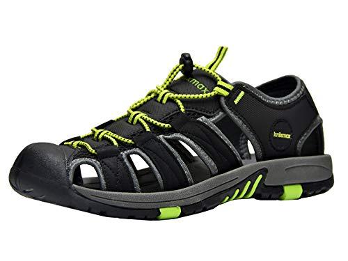 Knixmax-Sandalias de Senderismo Verano para Hombre Mujer Verano Exterior Senderismo Ligeras Antideslizantes Zapatillas Trekking Deportivas Casuales Sandalias de Playa, EU45 (UK11) Negro