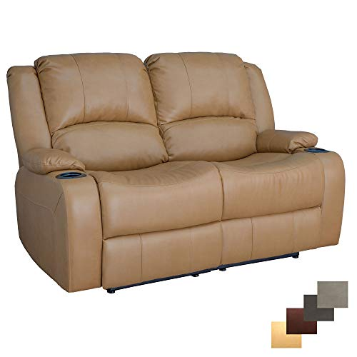 RecPro Charles 58' Powered Double RV Wall Hugger Recliner Sofa RV Loveseat (Toffee)