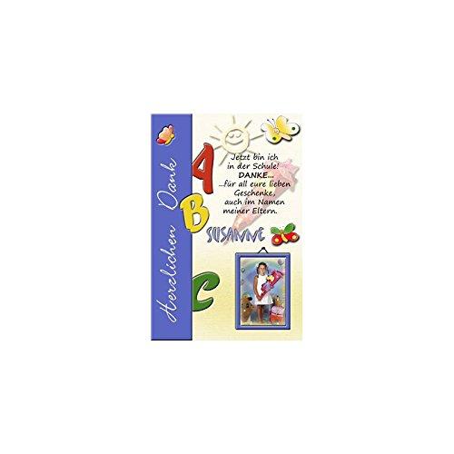 15 Individuelle Fotokarten als Dankeskarten zur Einschulung, Danksagung ESD10 , im Format 10x15 cm inkl. hochwertigem farbigen C6 Umschlag