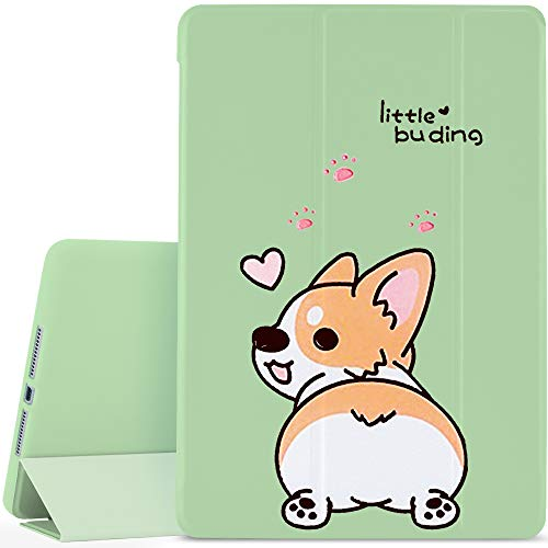 YCCY Cute Dog Pad Case Cover for iPad Air Green Case Lovely Corgi Animals Anti-Scratch Shockproof Lightweight Smart Trifold Stand Cover Soft TPU Cover for iPad Air