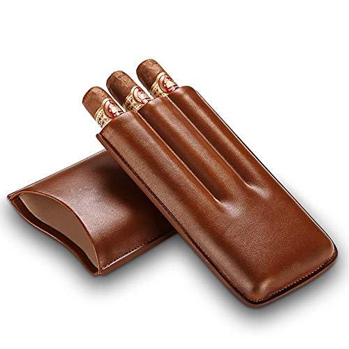 AKwwmy Brown en Cuir véritable 3 Tubes titulaires de Cigare-Coiffe Portable boîte à Cigare Mengheyuan