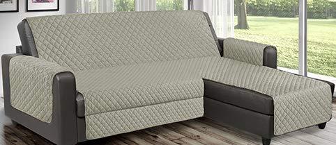 Funda de sofá reversible acolchada que se puede utilizar para sofás de esquina con chaise longue tanto a la derecha como a la izquierda, reversible PET Friendly (beige, 3 plazas 240 cm)