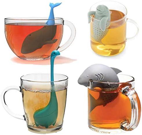 4 Pcs Silicone Tea Infuser Cute Shark Whale Dinosaur sea lion Reusable Long Handled Loose Leaf product image