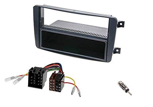Audioproject A220 - Set mascherina per vano autoradio da incasso per Mercedes Classe C W203 CLK W209 Viano Vito con, vano portaoggetti da incasso, adattatore radio/antenna ISO DIN