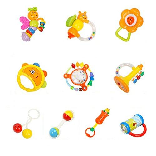 Toyvian 10pcs Baby Rasseln Beißring Set Neugeborene Handglocke Spielzeug Erste Rassel Spielzeug