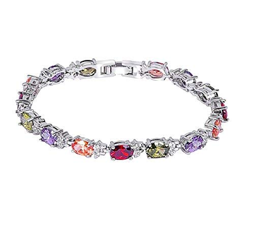 Heart beat Multicolour Silver Color Sparkle Forever Collection AAA Grade Cubic Zrn Charming Dazzling Stones Bracelet For Women