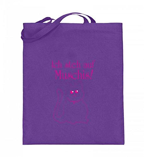 Ich steh auf Muschis! | Katze Katzen Katzenliebhaber Katzen-Geschenk Geschenkidee Kätzchen - Jutebeutel (mit langen Henkeln)