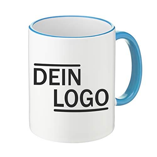 Foto Premio Werbetasse mit Logo | Kaffeetassen mit Logo Bedrucken, Tasse mit Logo in Kleiner Auflage günstig bestellen, Spülmaschinen- und Mikrowellenfest, 300ml Füllmenge (Hellblau, Standard)