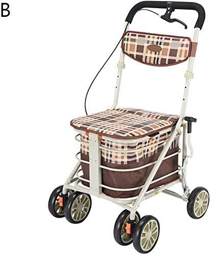 Tehwde Old Man Trolley, 2-in-1 winkelwagentje, draagbaar, geschikt voor thuis om een levensmiddelen-vrachtwagencadeau te kopen, dat 100 kg kan dragen.