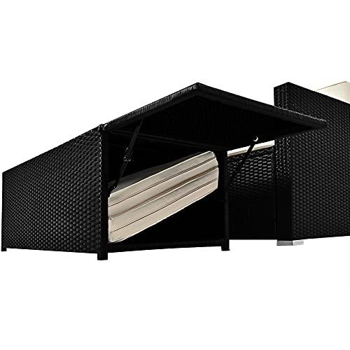 Deuba Poly Rattan Lounge Sofa 2 Sitzer Sitztruhe mit Stauraum Dicke Auflagen Relaxliege Sonnenliege Couch Set Schwarz - 3