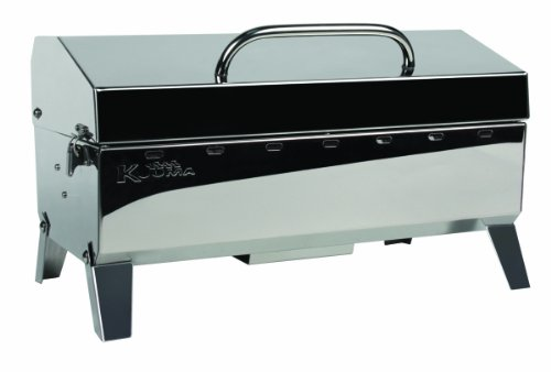 """""""Kuuma Premium Stainless Steel Mountable Charcoal Grill w/ Inner Lid Liner by Camco -Compact Portable Size Perfect for Boats, Tailgating and More – Stow N Go 160″"""" (58110)"""", silver"""