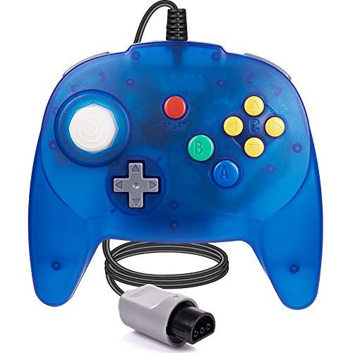 [Nueva versión] para controlador N64, mando de juego para N64 – Plug & Play (versión USB no PC) (Joystick del Japón), azul transparente