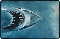 ブルーオーシャンシャークの下で水泳スーパーソフト屋内モダンエリアラグふわふわラグダイニングルームホームベッドルームカーペットフロアマットベビーキッズ犬猫60x39インチ-80x58インチ