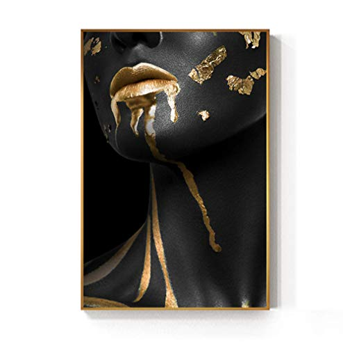 YB Mooie gouden zwarte dames gouden canvas schilderij poster druk voor woonkamer HD muurkunst Home Decoration 50x70cm Geen lijst