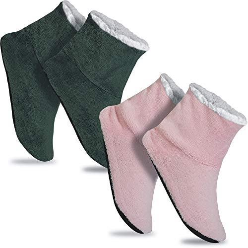 GAWILO 2 Paar rutschfeste Damen Home Booties | Hausschuhe mit ABS Sohle (39-42, farbig 7)