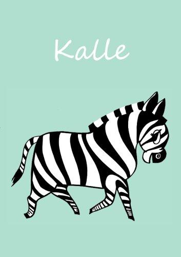 A5 - personalisiertes Malbuch / Notizbuch / Tagebuch - Kalle: Zebra - A5 - blanko - mintgrün