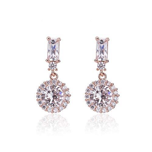 Yarmy Fashion - Pendientes redondos de diamante para mujer, color blanco temperamento