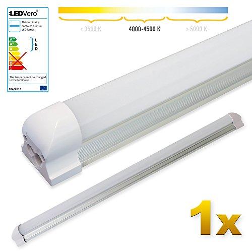LEDVero 1x SMD LED Röhre 90 cm inklusive Fassung in neutralweiss- Leuchtstoffröhre T8 G13 Tube milchige Abdeckung - Lichtleiste mit 14 W, 1400lm- montagefertig