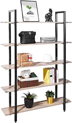 AuAg Bücherregal, Standregal, Leiterregal, Wohnzimmerregal, 177cm Regal mit 5 Ablagen, stabiles Stahlgestell, Schlafzimmer, Büro, Badezimmer, Küche, Werkzeugraum, Einfacher und moderner Stil, Weiß