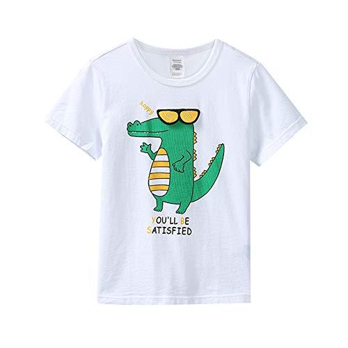 Camisetas de Dinosaurios Niños 2 12 años Verano Blanco Algodón Divertido Gráfico Animal Dibujos Animados Anime Cute tee Tops Bebé (Blanco, 130)