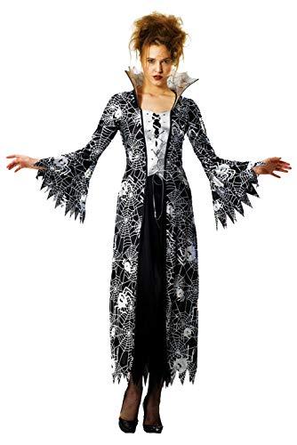 Foxxeo schwarz Silber Spinnen Hexen Vampir Kostüm für Damen Fasching Karneval Halloween Größe XXL