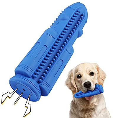 Dog Chew Toys Teeth Cleaning Toothbrush Squeaky Toy, Durable Puppy Teething Chew Toy Tough Pet Dental Oral Care Brushing Sticks Dogs Chewing Toys for Aggressive Chewers Small Medium Breed