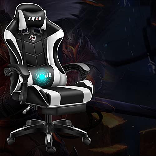 Sedia da gioco per computer da ufficio, sedia ergonomica per videogiochi, schienale e sedile regolabile in altezza, reclinabile con poggiatesta e cuscino lombare, colore: bianco