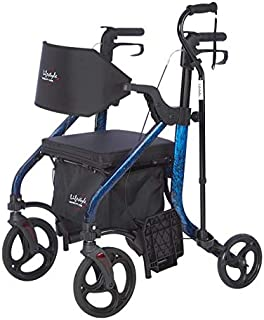 Lifestyle Mobility Aids Deluxe Translators - 2 in 1 Rollator Transport Chairs (Laser Blue)