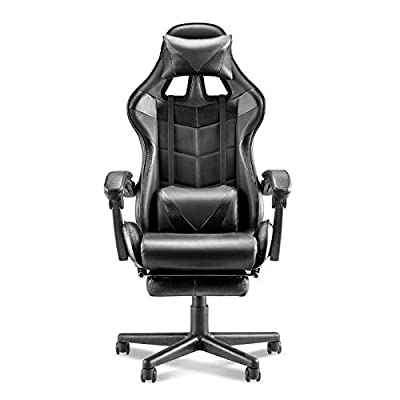 Soontrans Computer Chair,Gaming Chair,Ergonomic Racing Style PC Game Computer Chair with Headrest Lumbar Support Footrest Adjustable Recliner Chair