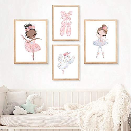 CNHNWJ Ballerina kleuterschool muurkunst canvas poster zwanentanz afdrukken cartoon schilderij kinderdecoratie afbeelding baby meisje slaapkamer decor (40x50 cm x 4 / geen lijst)